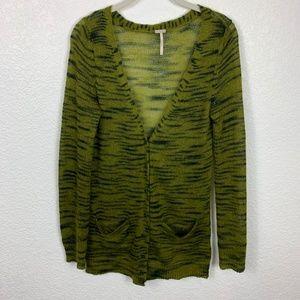 Free People Beach Green Tiger Cardigan Sweater MD